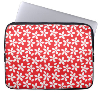 Decorative Red and White floral Laptop Computer Sleeves