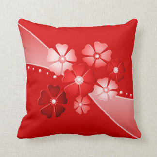 Decorative Red and White Flowers Cushion