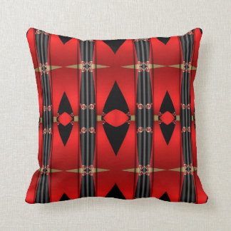 Decorative Red Black and Gold Triangular Pillow