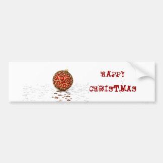 Decorative Red Christmas Balls Bumper Sticker