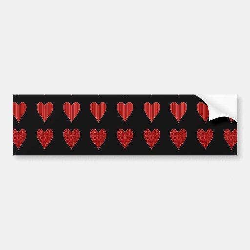 Decorative Red Hearts Bumper Sticker