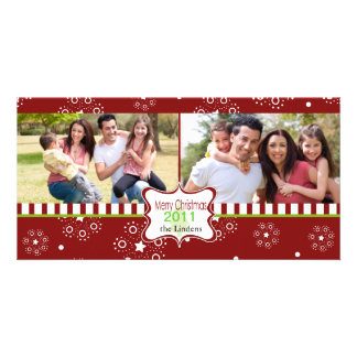 Decorative red holiday photocard with frame photo greeting card