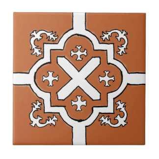 Decorative Red Orange Spanish Style tile