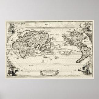 Decorative replica 16th Century Antique World Map Poster