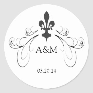 Decorative Scroll Fleur de Lis Wedding Stickers