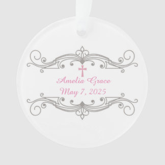 Decorative Scroll Ornament, Pink Cross, Religious Ornament