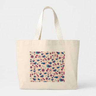 Decorative spring pattern large tote bag