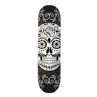Decorative Sugar Skull Black White Gothic Grunge 18.1 Cm Old School Skateboard Deck