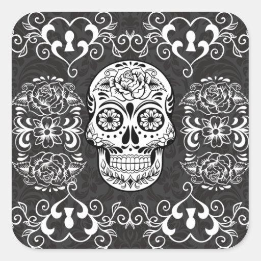 Decorative Sugar Skull Black White Gothic Grunge Stickers