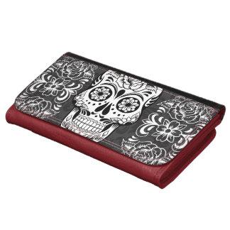 Decorative Sugar Skull Black White Gothic Grunge Wallet
