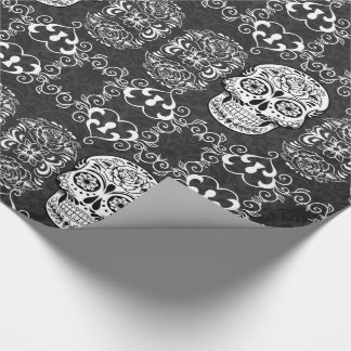 Decorative Sugar Skull Black White Gothic Grunge Wrapping Paper