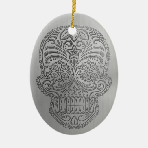 Decorative Sugar Skull with a Stainless Steel Look Christmas Tree Ornament