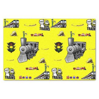 Decorative tissue paper trains