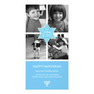 Decorative Typography Light Blue Star Hanukkah Photo Card