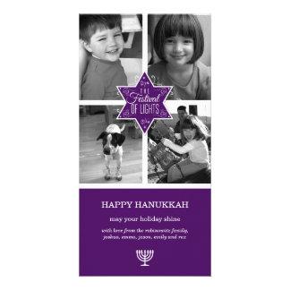 Decorative Typography Purple Star Hanukkah Photo Card Template