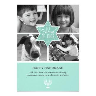 Decorative Typography Star of David Hanukkah 13 Cm X 18 Cm Invitation Card
