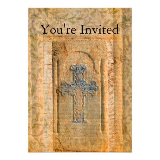 Decorative Vintage Renaissance Christian Cross Personalized Invitations