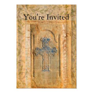 Decorative Vintage Renaissance Christian Cross 5x7 Paper Invitation Card
