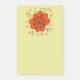 Decorative Whimsical Orange Flower Post-it Notes
