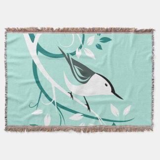 Decorative White Nuthatch Throw Blanket