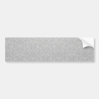 Decorative White swirls on Grey texture Bumper Stickers