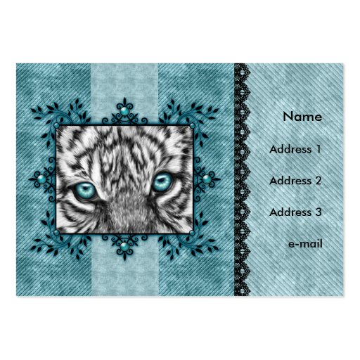 Decorative White Tiger Business Card Template