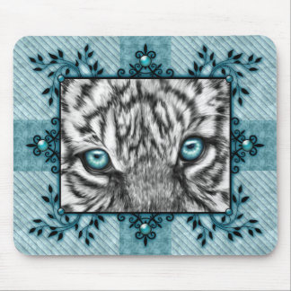 Decorative White Tiger Mouse Pad