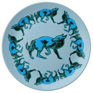 Decorative Wolves Blue Plate Special Porcelain Plate