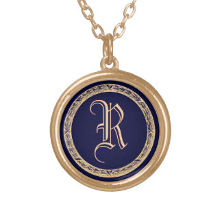 Decorative Wreath Customizable Monogram Gold Plated Necklace
