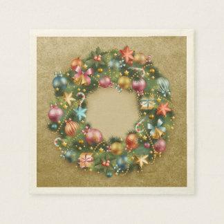 Decorative Wreath Holiday Disposable Serviettes