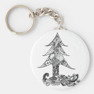 Decorative Xmas Tree Basic Round Button Key Ring