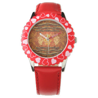 Decorative yellow clef with roses wrist watch