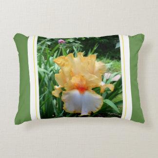 Decorative Yellow Iris Flower Accent Pillow