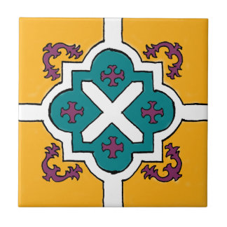 Decorative Yellow/Violet/Blue Spanish Style tile