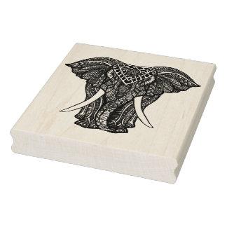 Decorative Zendoodle Elephant Illustration Rubber Stamp