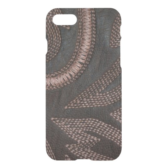 Decoratively Sewn Brown Vintage Leather Pattern iPhone 8/7 Case