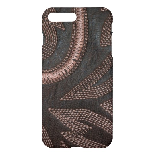 Decoratively Sewn Brown Vintage Leather Pattern iPhone 8 Plus/7 Plus Case