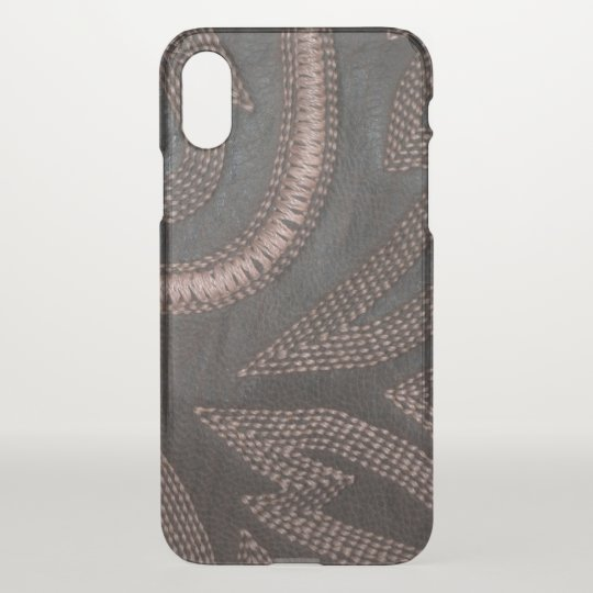 Decoratively Sewn Brown Vintage Leather Pattern iPhone X Case