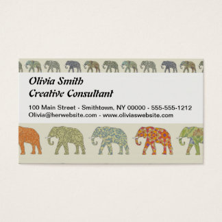 Decorator Elephant Trendy Pattern Business Card