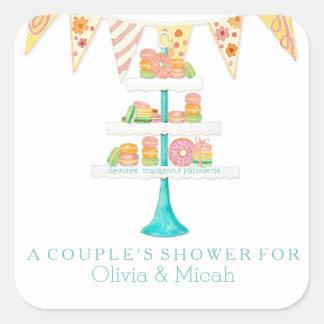Décorée Macarons Pâtisserie Bunting Couples Shower Square Sticker