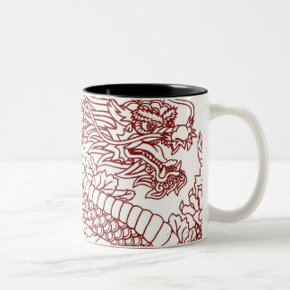 Decoupage of a Chinese dragon Two-Tone Coffee Mug