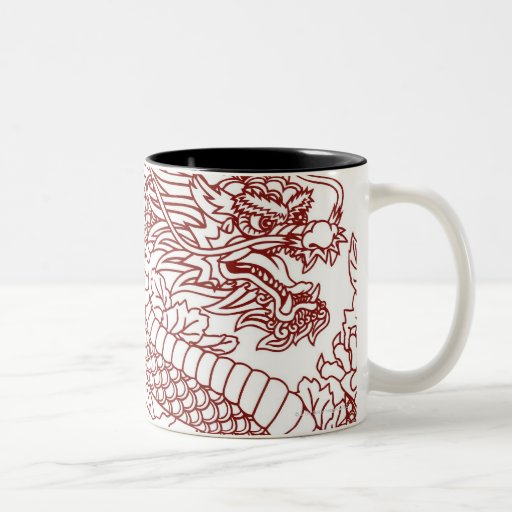 Decoupage of a Chinese dragon Mugs