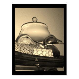 Decoys on a Shelf Black & White Postcard