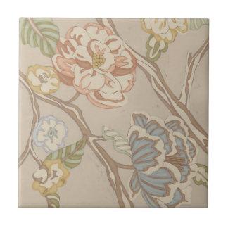 Decrative Organza Chintz Floral Design Small Square Tile