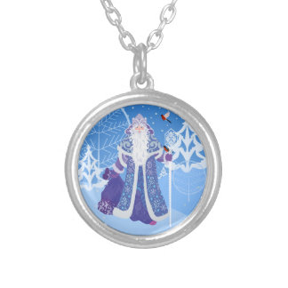 Ded Moros and birds in winter forest russian style Silver Plated Necklace