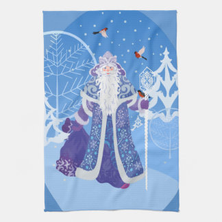 Ded Moros and birds in winter forest russian style Tea Towel