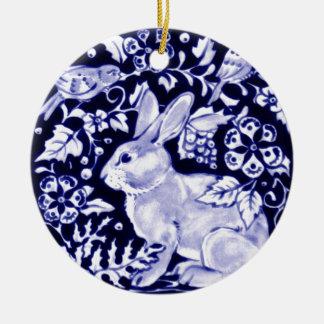 Dedham Blue Rabbit, Classic Blue & White Design Ceramic Ornament