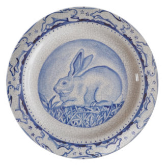 """Dedham Blue"" Rabbit Design Plate, Blue & White Plate"