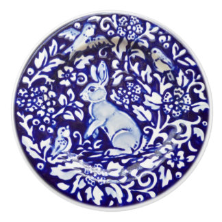Dedham Blue White Rabbit Ceramic Drawer Pull Knob
