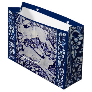 Dedham Blue & White Rabbit Ceramic Tile Gift Bag